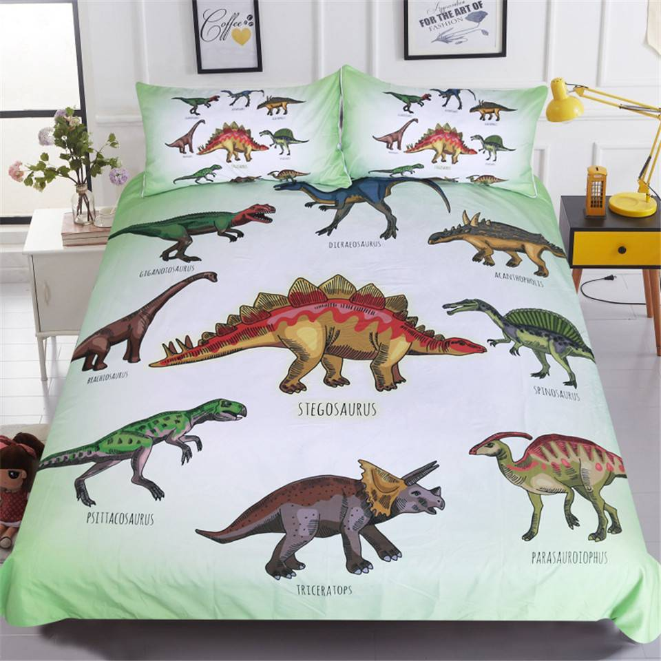 Dinosaur Family Bedding Set for Kids Cartoon Bed Cover Single Boys Duvet Cover Set Jurassic Printed Bedclothes
