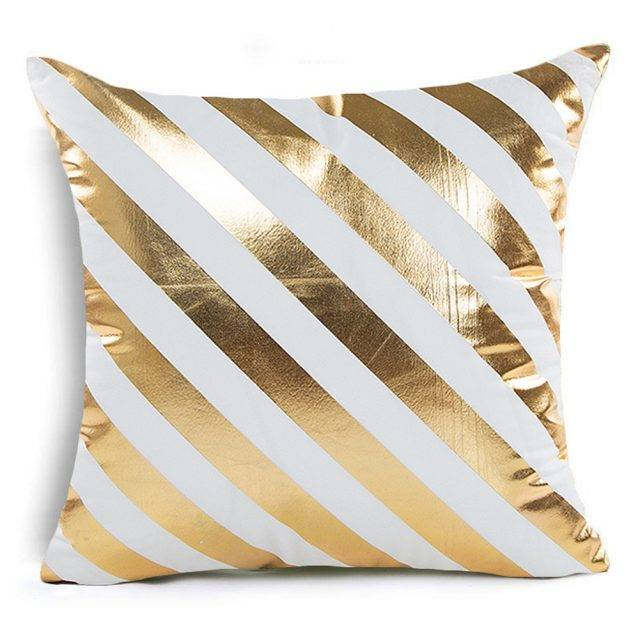 Golden Bronze Luxury Geometric Pillow Covers (25 Designs)