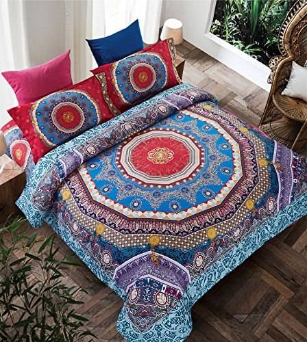 Boho Style Bedding Bohemian Moroccan Indian Sheets Set Blue Red Full Size Duvet Cover