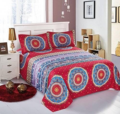 Boho Style Bedding Bohemian Mandala Sheets Set Blue Red Full Size Flat Sheet