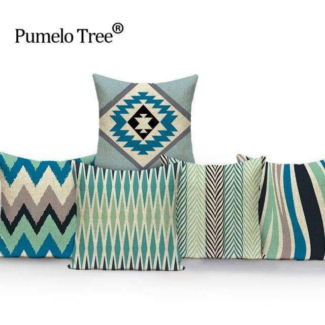 Morocco Decor Geometric Throw Pillow Cover Case Linen Cushion Cover For Sofa Home Decor  Green Wave Custom Capa De Almofadas