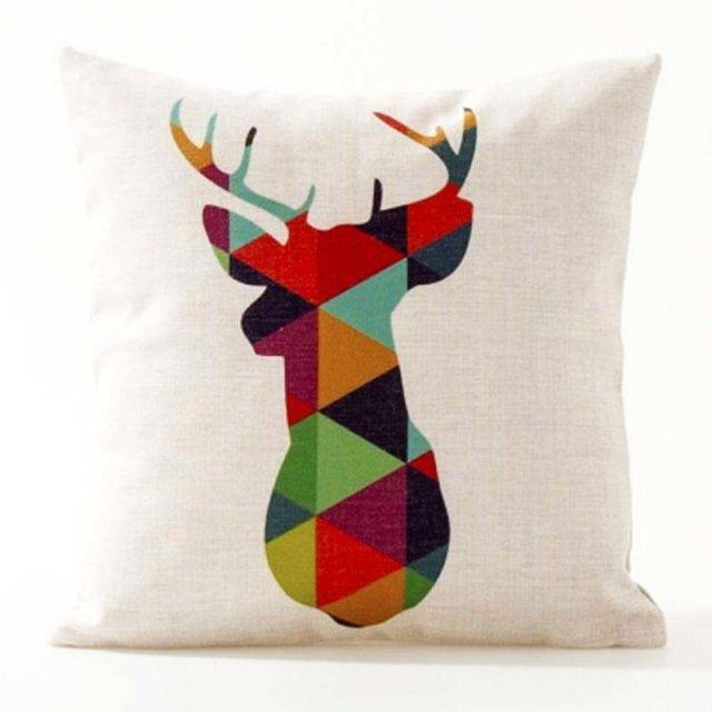 Deer Elk Bear Elephant Cushion Covers Nordic Geometric Arrows Rhombus Triangles Mountain Pillow Cover Linen Beige Pillow Case