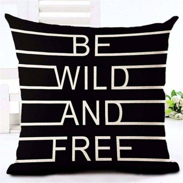 Letter Love Home Cushion covers Cotton linen Black White pillow cover Sofa bed Nordic decorative pillow case almofadas 45x45cm
