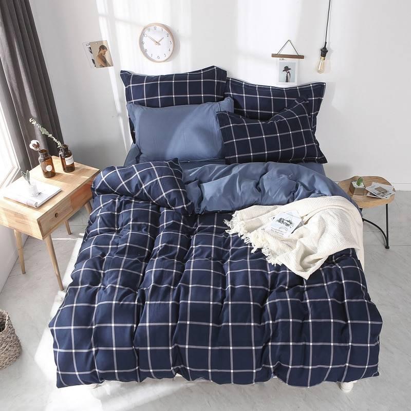 Bedding Set Whole cotton Color lattice stripes geometry Warm family pillowcases 3/4pcs Duvet Cover sets Soft Bed Sheet