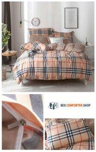 brown striped latice bedding set