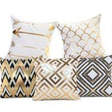 golden bronze geometric bling bling pillows
