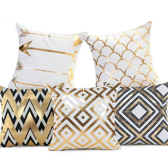 golden bronze geometric bling bling pillows