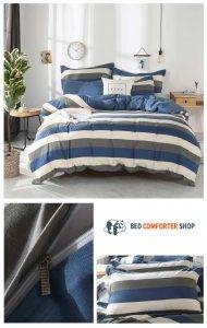 grey blue striped bedding set