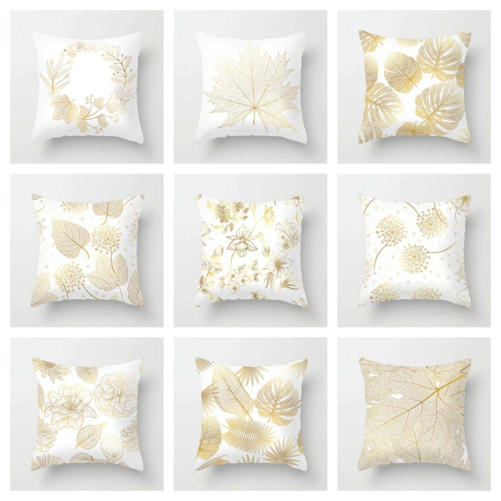 Golden Pillow Cases with Leaf Designs 1