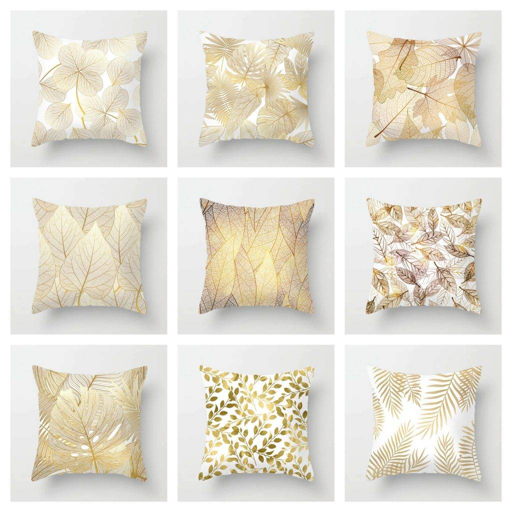 Golden Pillow Cases with Leaf Designs 2