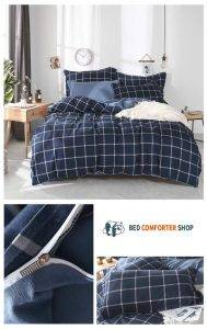 navy blue striped bed set