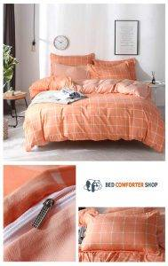 orange striped bedding set