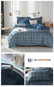 washed blue striped bed set