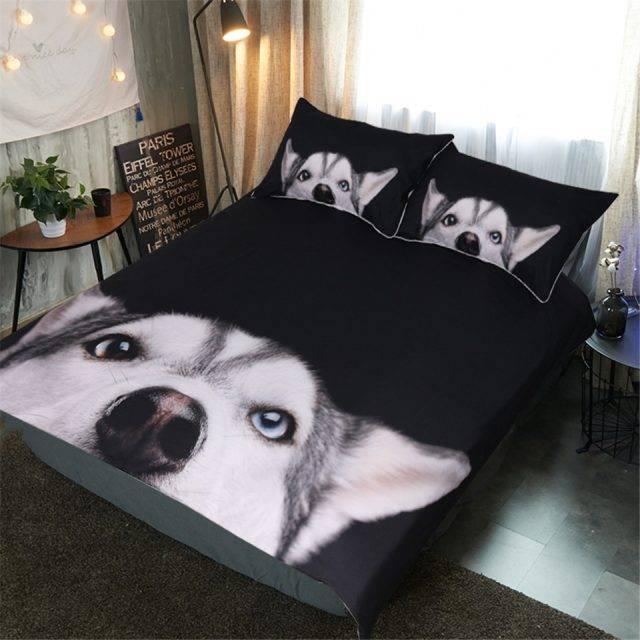Curious Husky Print Microfiber Bedding Set