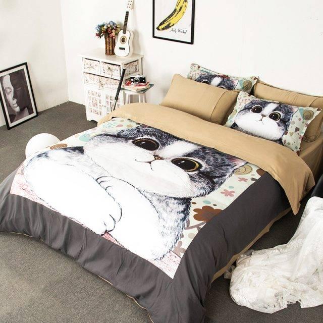 Girl's Kawaii Kitten Bedding Set