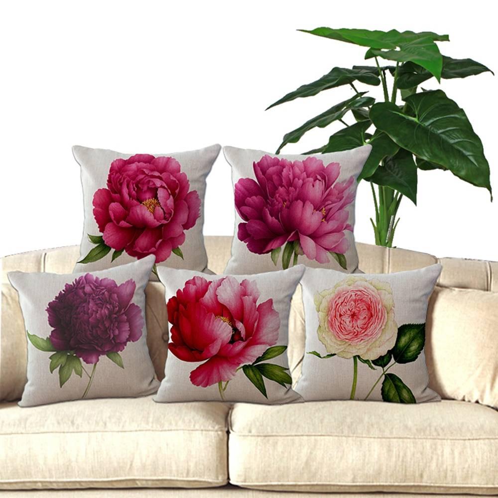 Decorative Flowers Pillow Square 18