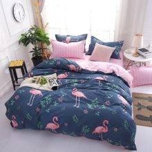 Dark Blue Pink Flamingo Bedding Set