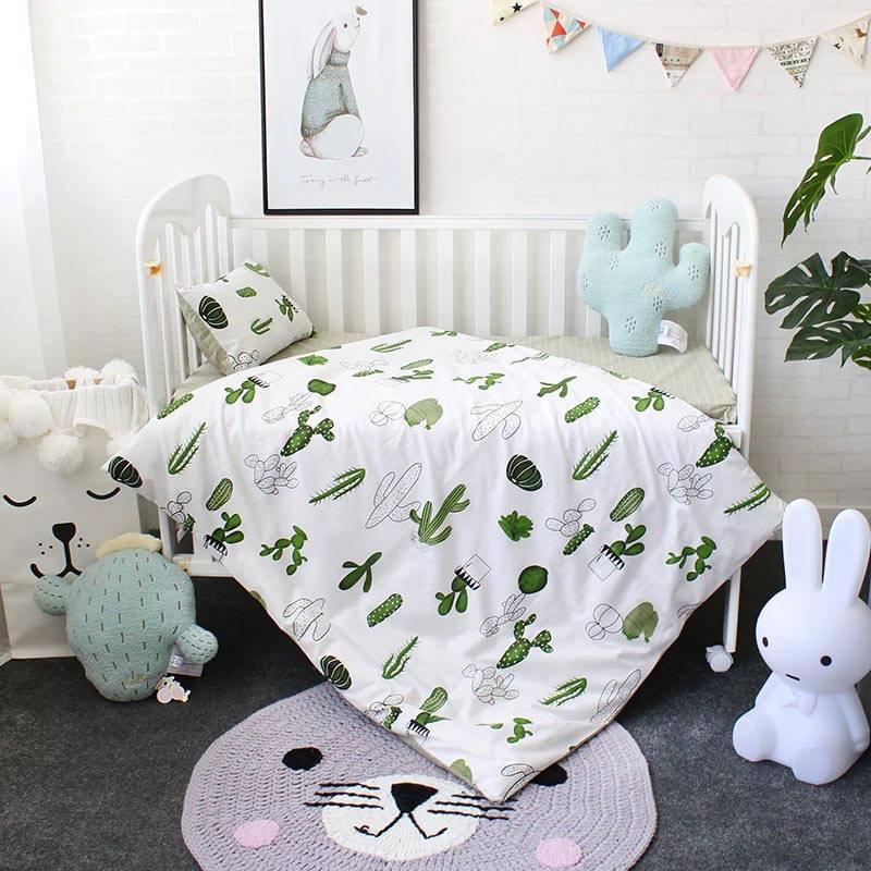cactus baby crib 3pc bedding set