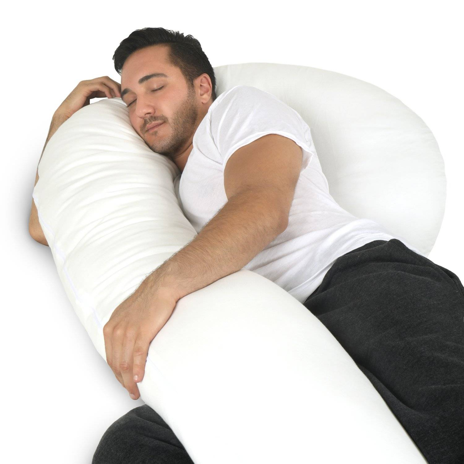 man sleeping with u-shaped body pillow