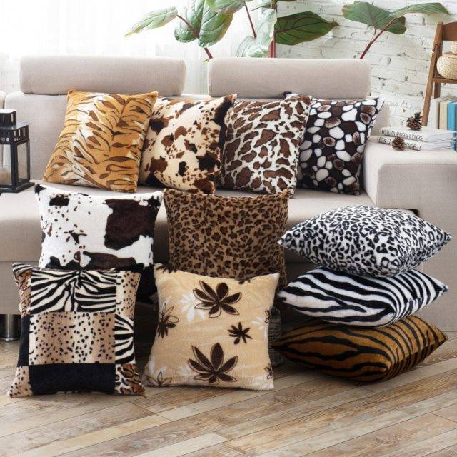 Leopard Dots Leaf Pattern Soft Velvet Animal Printed Cushions Throw Pillows