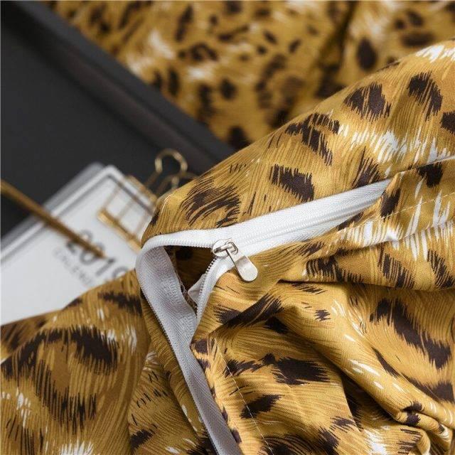 WUJIE 2Pcs/3Pcs Leopard Pattern 100% Cotton Bedding Set with Zipper Pillowcase Duvet Cover Set Single/Queen/King Home Textile