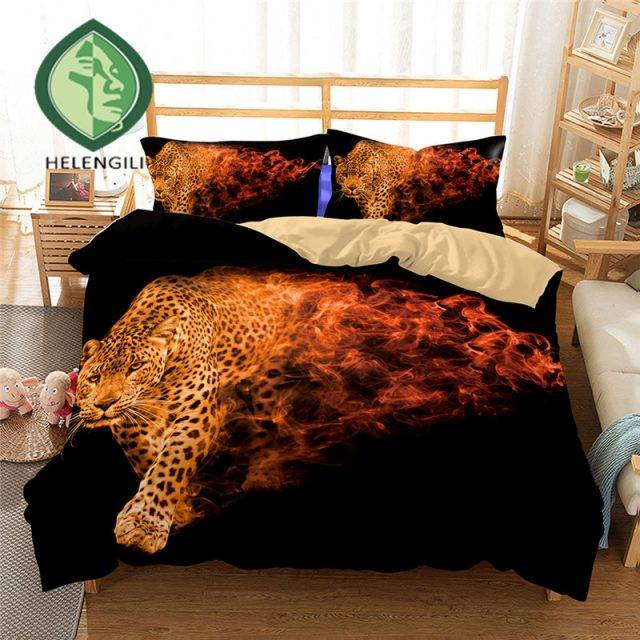 HELENGILI 3D Bedding Set Leopard Print Duvet cover set lifelike bedclothes with pillowcase bed set home Textiles #3-01