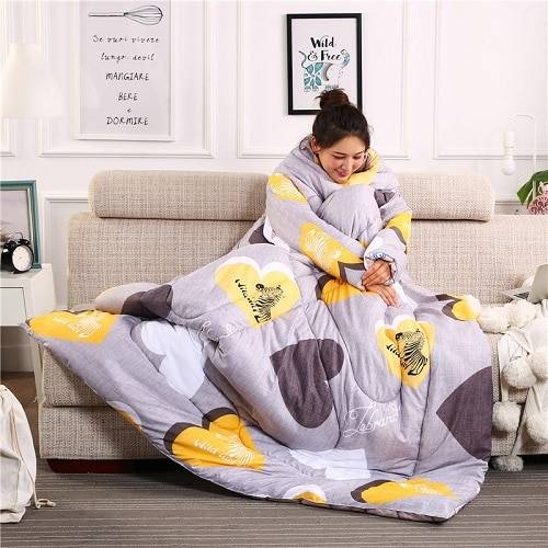 New Winter Comforters autumn Lazy Quilt with Sleeves family Blanket Cape Cloak Nap Blanket Dormitory Mantle Covered Blanket
