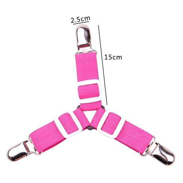 4pcs Elastic Three-Head Clamp Bed Sheet Grippers with Slip-Resistant Belt Clip
