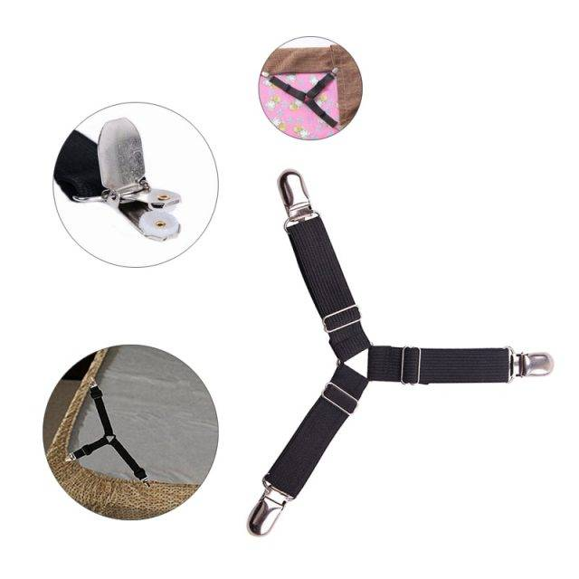 4pcs Elastic Bed Sheet Grippers with Slip-Resistant Belt Clip