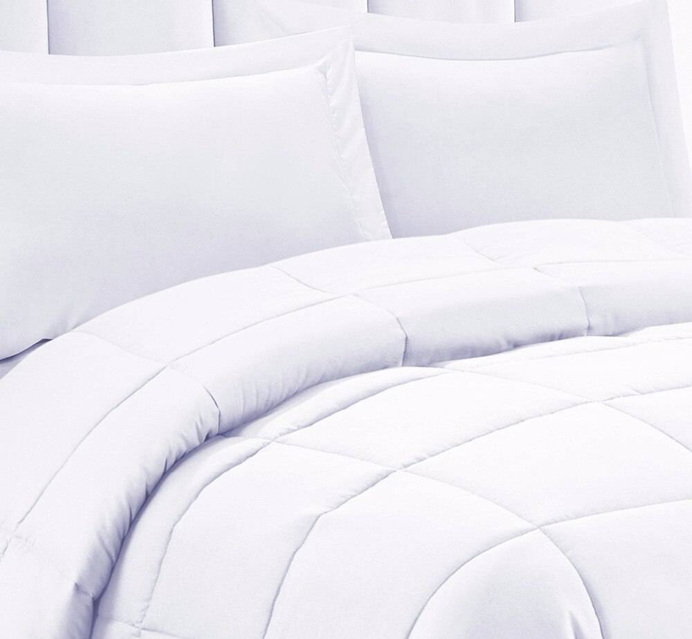 Solid White Down Alternative Comforter Microfiber Cover Medium Weight for All Seasons
