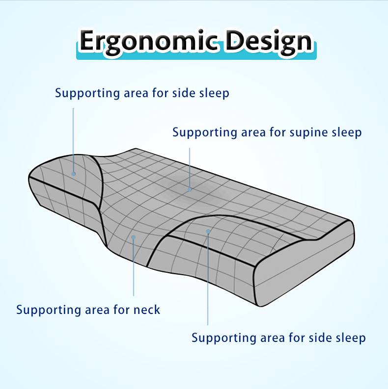Memory Foam Bedding Pillow Ergonomic Design