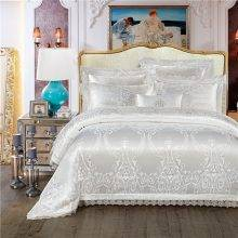 King Queen size White Red Bedding Set Luxury Wedding Bed set Jacquard Cotton Duvet Cover Bed set Bedlinen Bed cover nordico cama