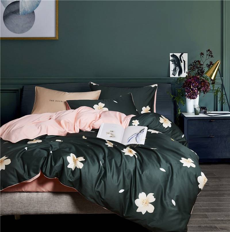 Magnolia Jacquard Luxury Duvet Cover Set Made From Egyptian Cotton