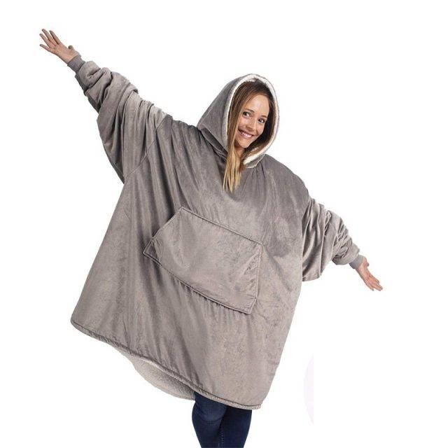 MYDC Winter Thick Comfy Lounger Hoodies Front Pocket Blanket Adults and Children Fleece Wool Warm Outdoor Travel Sweatshirt