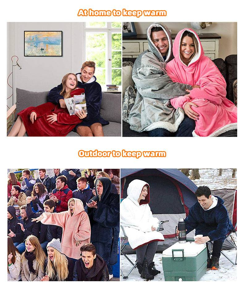 MYDC Winter Thick Comfy Lounger Hoodies Front Pocket Blanket Adults and Children Fleece Wool Warm Outdoor Travel Sweatshirt