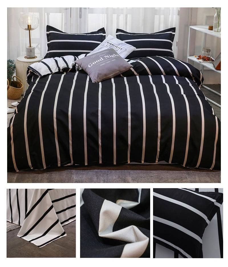 Black and White Vertical Striped Duvet Covers