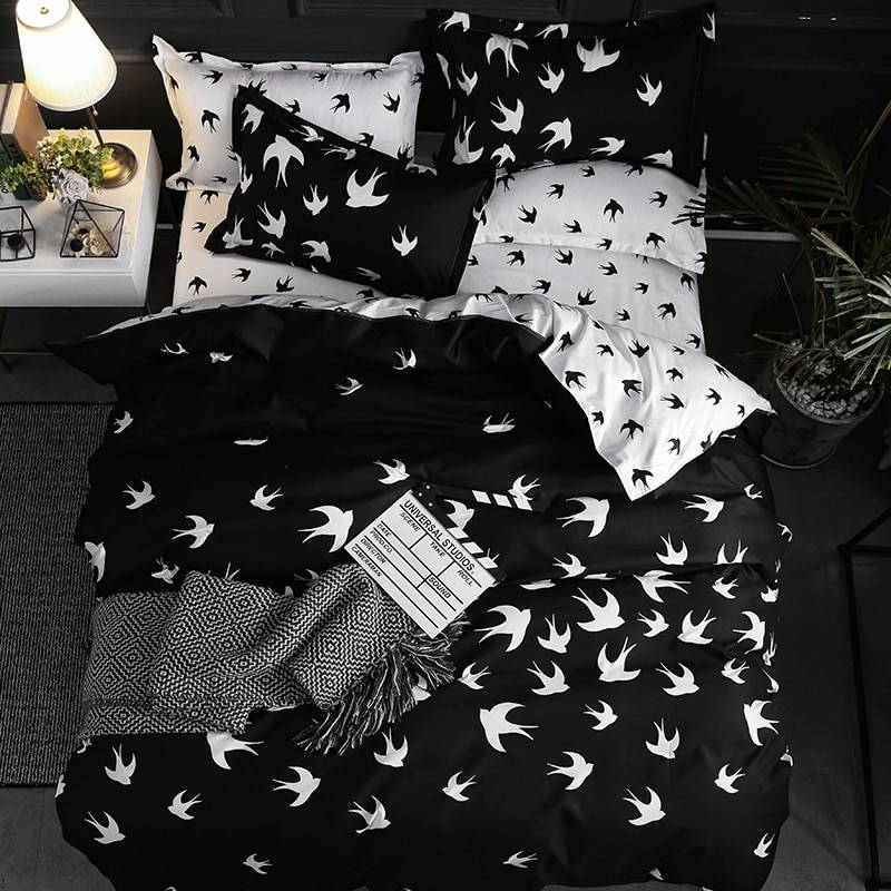 Black and White Swallow Birds Duvet Cover Bedding Set