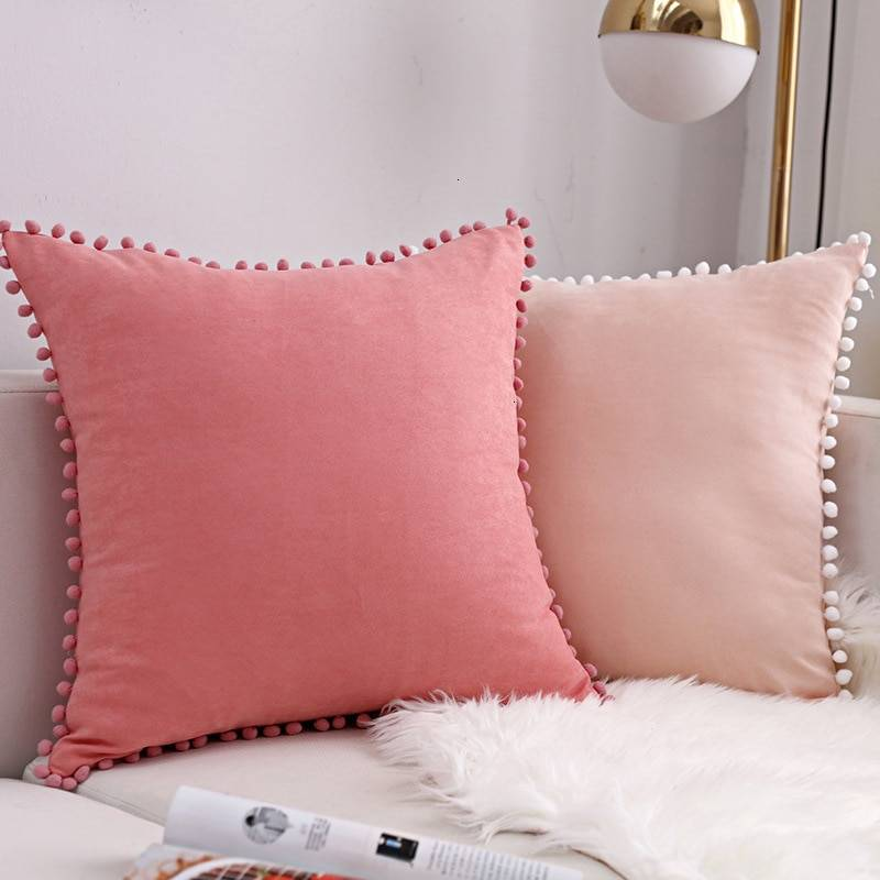 Pom Pom Decorative Lace Cushion Cover