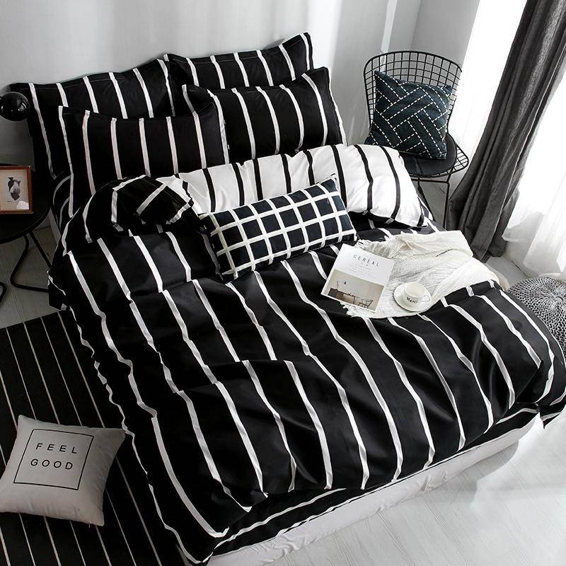 Black and White Striped Bedding Set Black and White Duvet Cover
