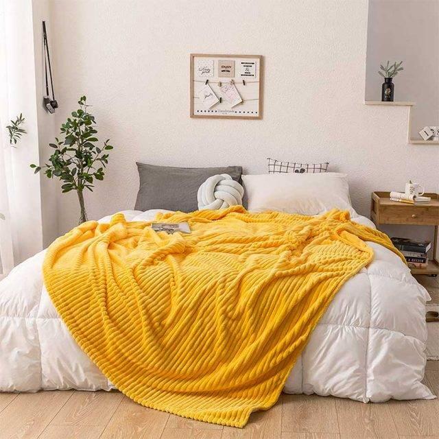 flanel throw blanket yellow