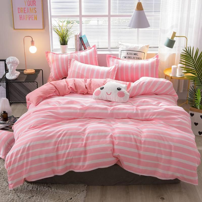Pink Striped Duvet Cover Bedding Set