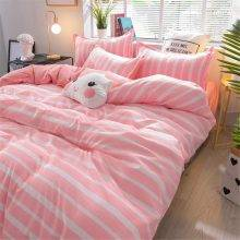 bed set with pink and white stripes