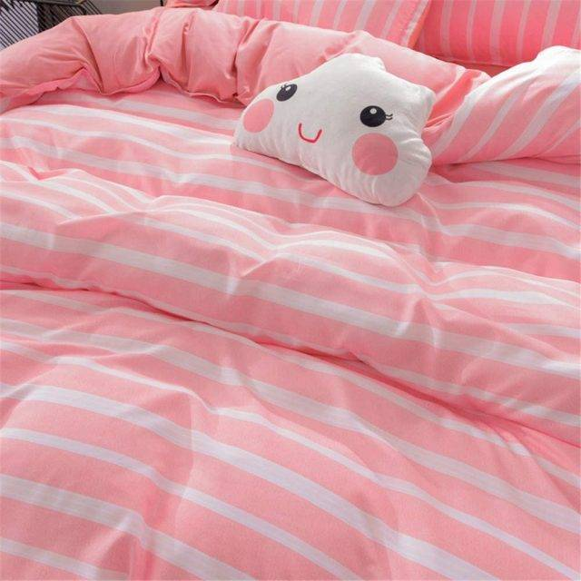 pink striped bed cover set
