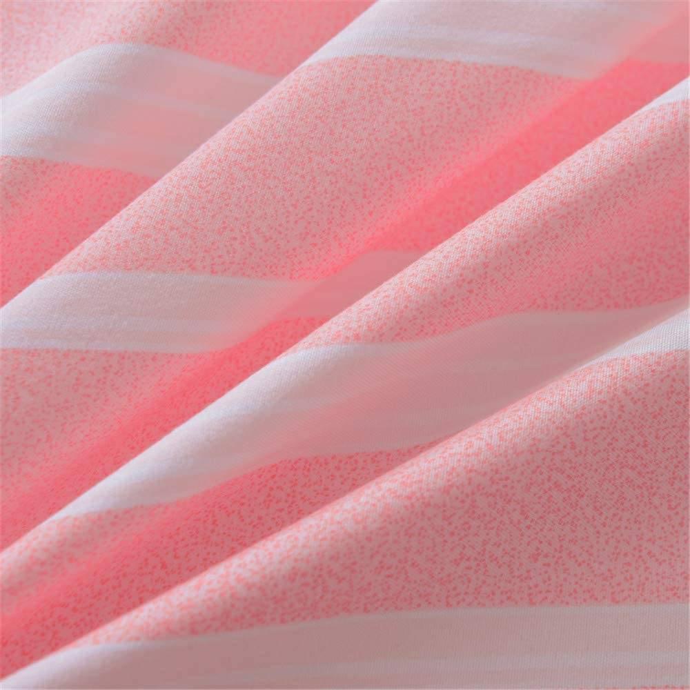 pink striped duvet cover closeup