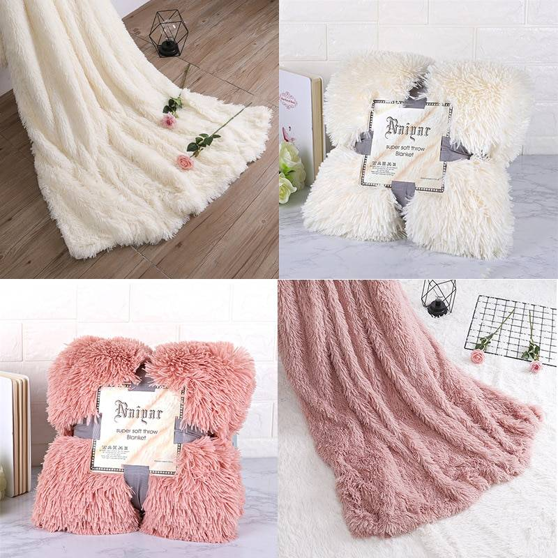 Soft Fluffy Throw Blanket for Bed