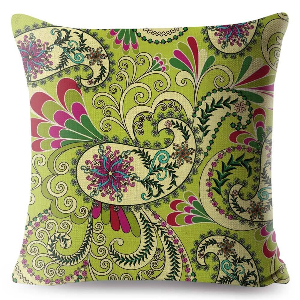 bohemian green paisley pillow case