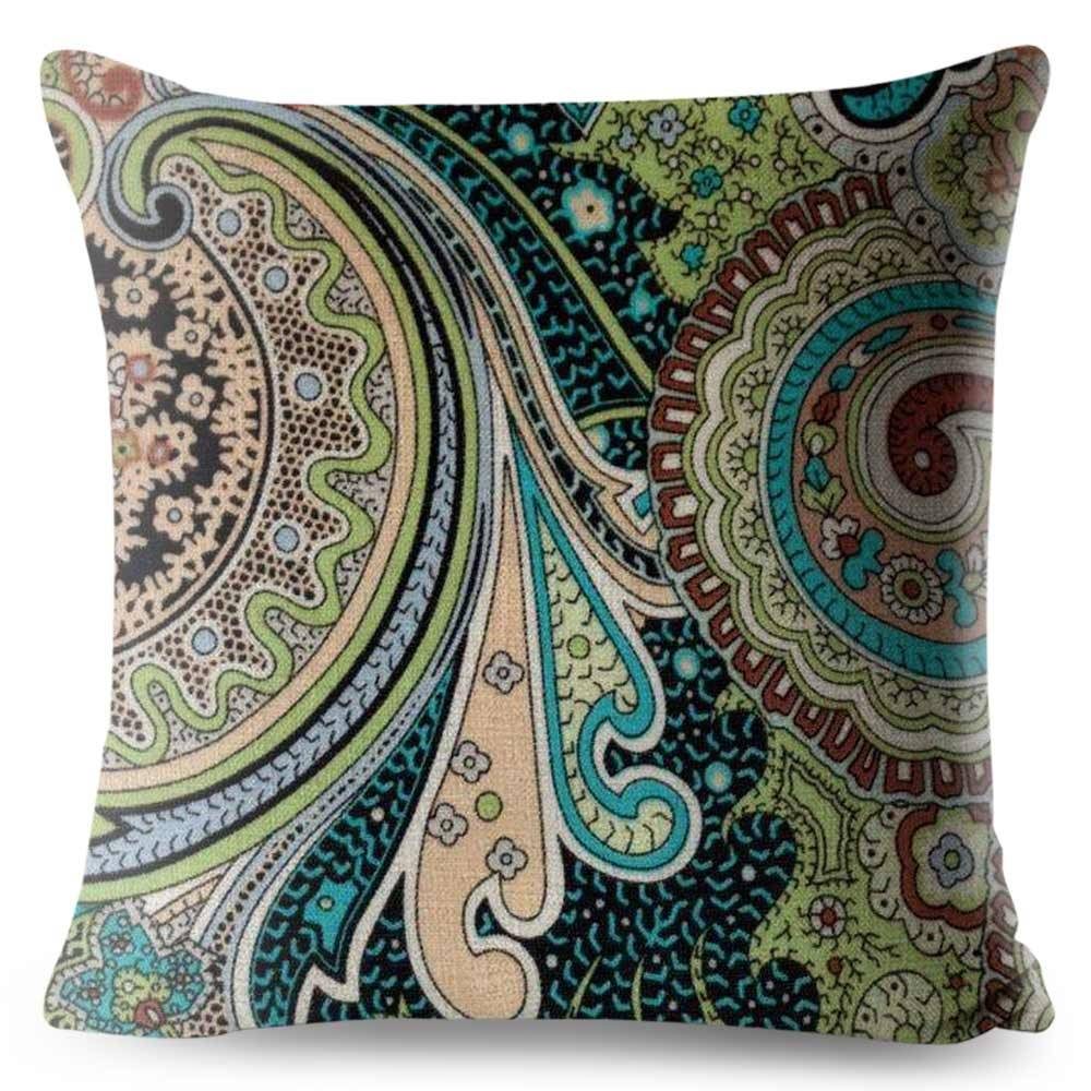 bohemian colorful paisley pillow cover
