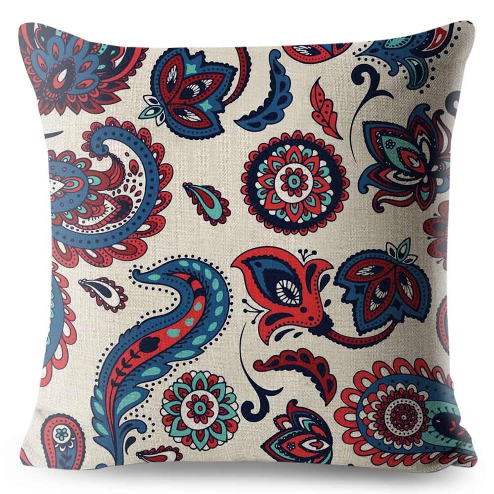 bohemian white paisley pillow case