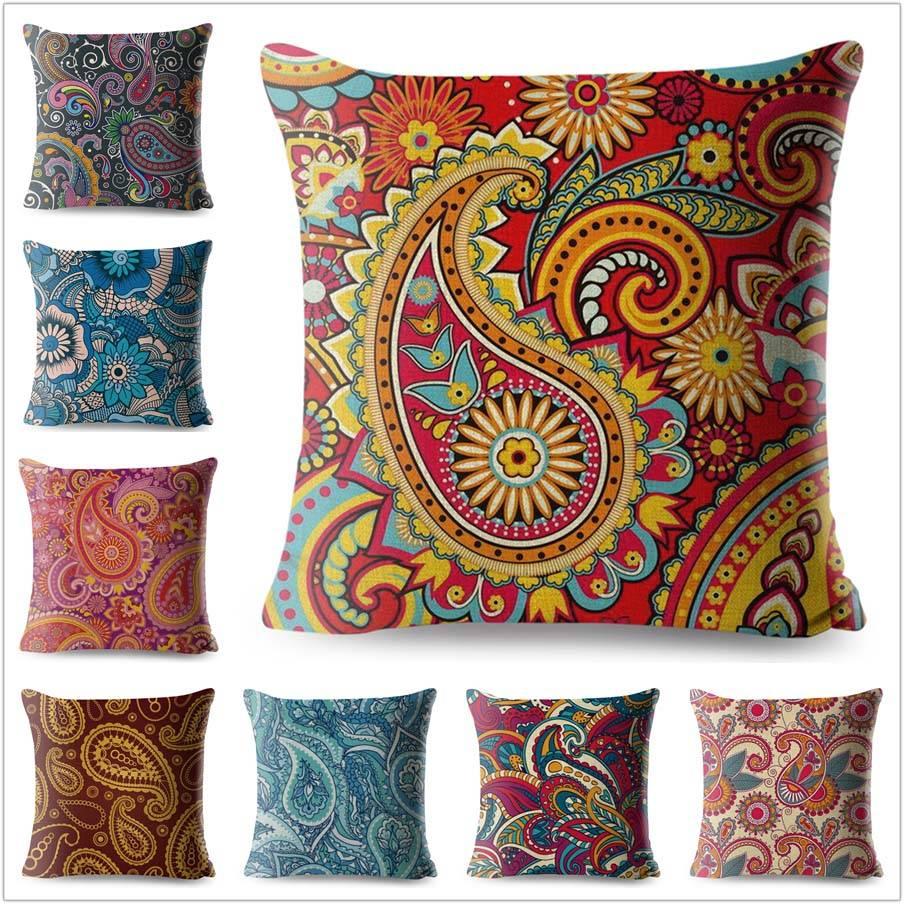 bohemian paisley pillow case designs